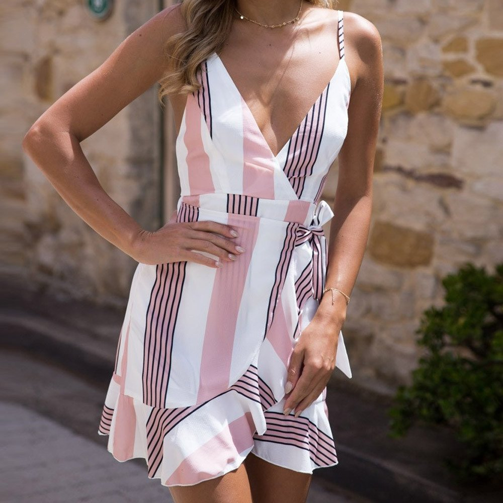 iZHH Womens Dress Sleeveless Bohemian Mini Dress Stripe Print Leaking Back Beach Dresses