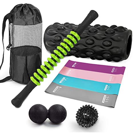 ucho 5 in 1 Foam Roller Set, Yoga Muscle Foam Rollers, Massage Roller Stick, Lacrosse Ball,Spiky Ball one Resistance Loop for Massage & Fitness & Yoga ...