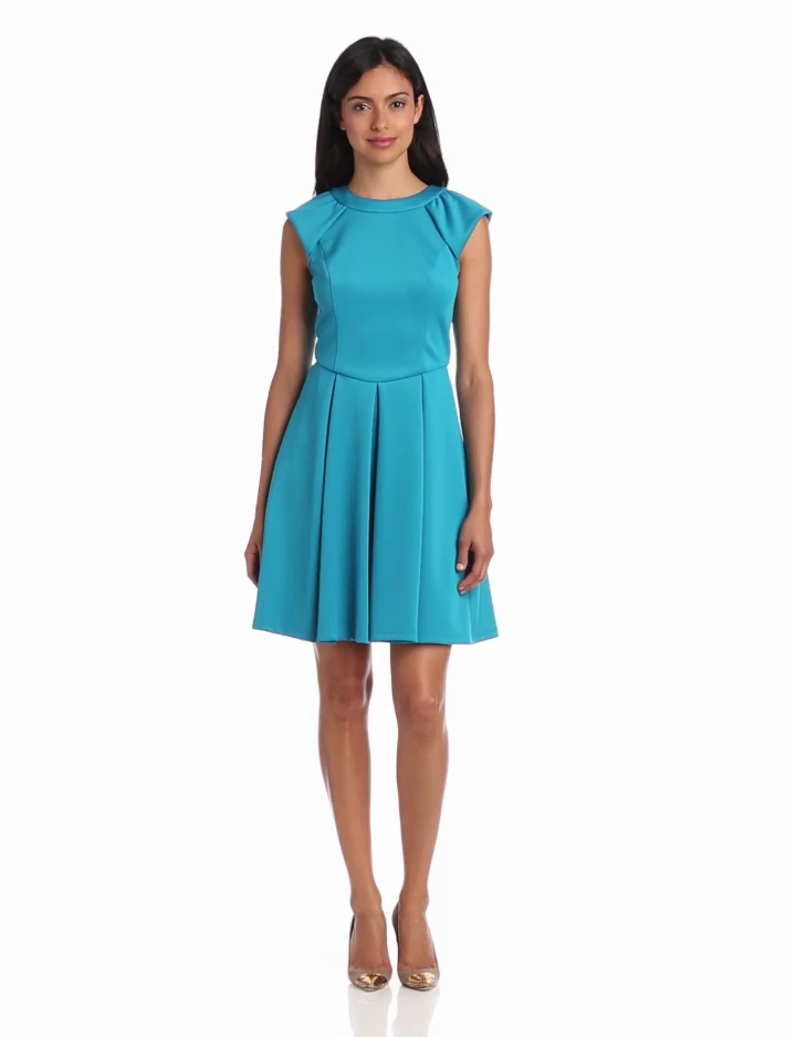Hailey by Adrianna Papell Womens Dresses Scuba Cap Sleeve Flare Dress
