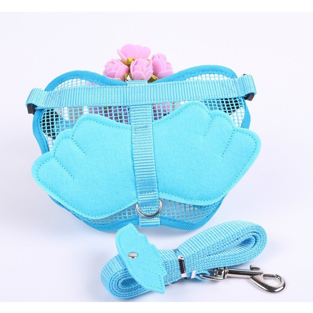 TLMY Dog Angel Leash Rope Pet Dog Chain Dog Rope Teddy Vest Chest Strap Bunny Rope Cat Rope Pet Chain (color   bluee, Size   S)