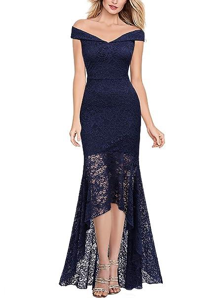 Miusol Vintage Encaje Slim Vestido de Noche Largo para Mujer Azul Marino Small