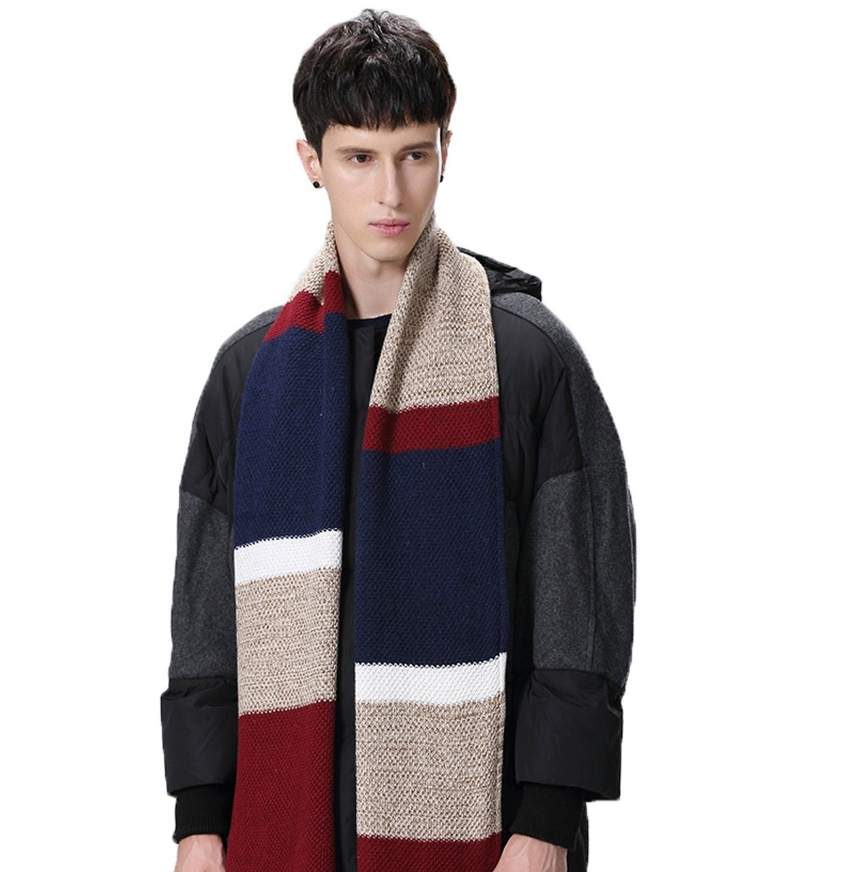 Winter Cashmere Scarf for Men - Color Block Stripe Wool Knitted Fashion Long Scarves (Red)