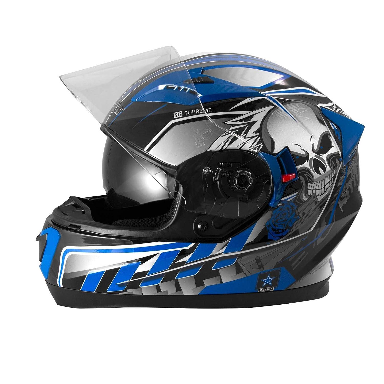 Casque Int/égral Visi/ère Pare Soleil ECE 22-05 Approuv/é Moto Scooter A-Pro Jaune XL