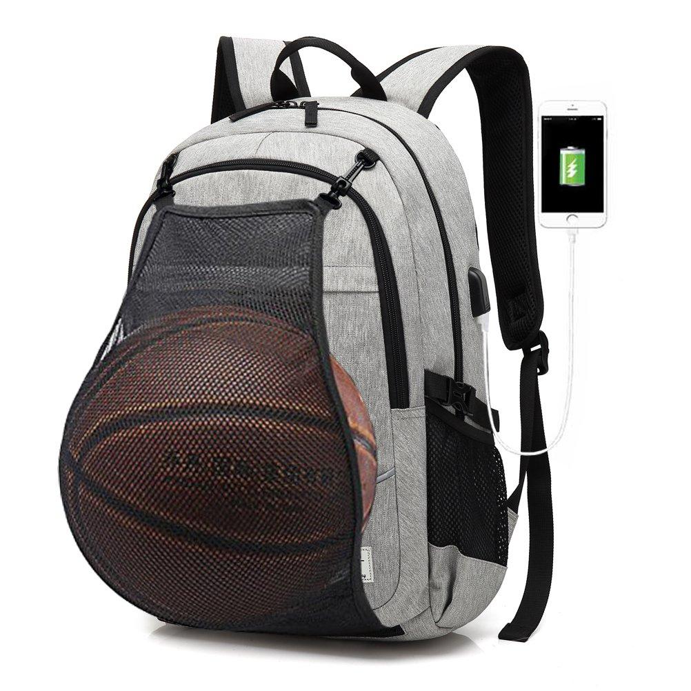 FEWOFJ Business Laptop Backpack with Basketball Net USB Charging Port, Men/Women College School Rucksack Sport Bag for Soccer, Football, Volleyball, Gym, Travel - Gray