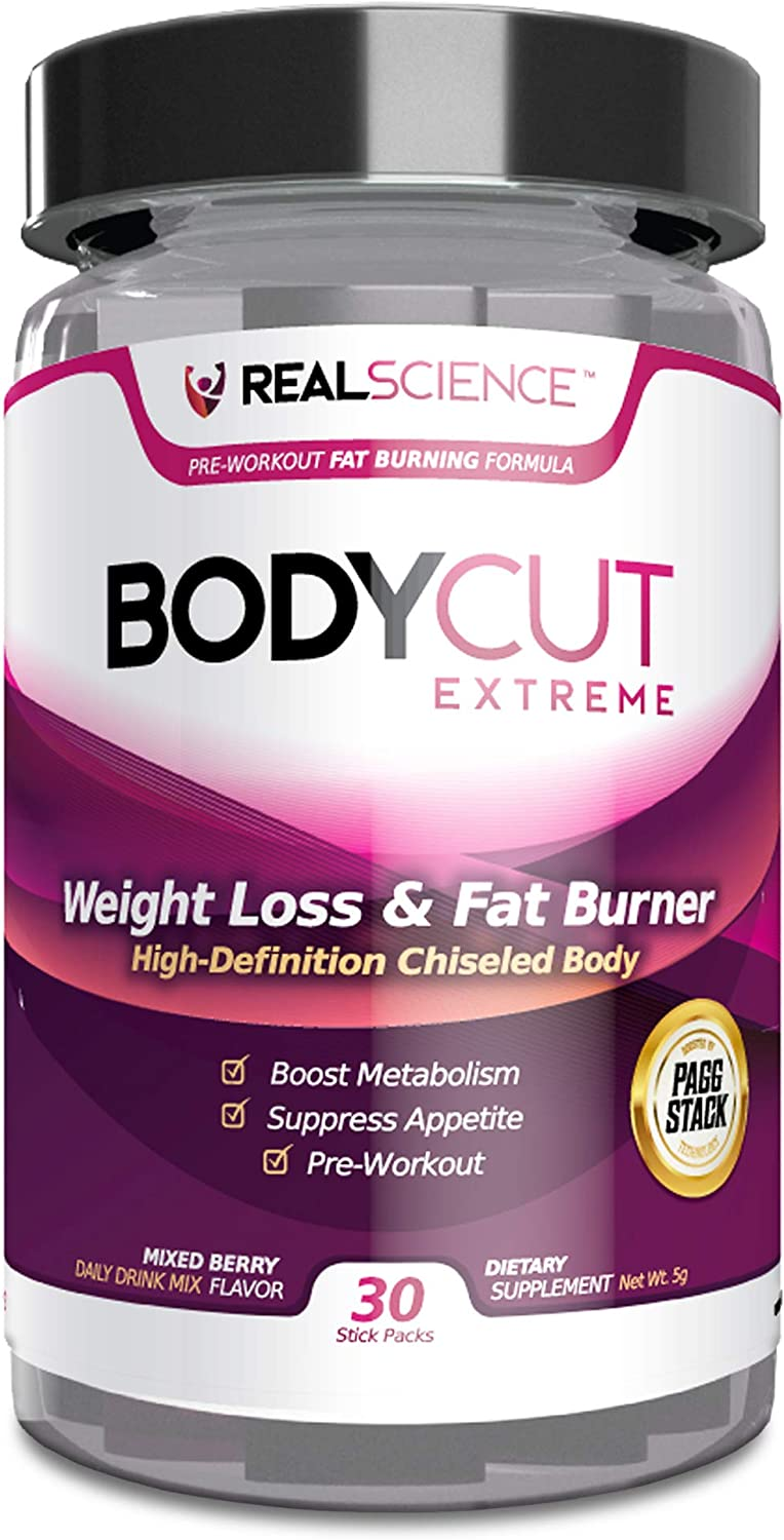Real Science Nutrition Body Cut Extreme Weight Loss Supplement Drink for Fat Burning and Muscle Building Support – with PAGG Stack Technology 30 Stick Packs