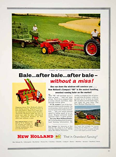 1955 Ad New Holland Compact 66 Baler Hay Maker Machinery