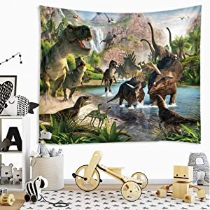 Sevendec Dinosaur Tapestry Wall Hanging Wild Anicient Animals Wall Tapestry Tropical Jurassic Nature Wall Decor for Children Bedroom Living Room Dorm W90 x L71