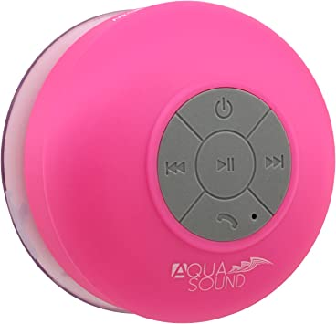 Aduro AquaSound WSP8 Shower Speaker, Portable Waterproof Wireless  Bluetooth Speaker (Pink)