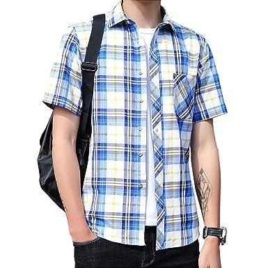 7276768e199f1d Amazon | カジュアルシャツ メンズ 半袖 チェックシャツ 夏 大きいサイズ | シャツ 通販