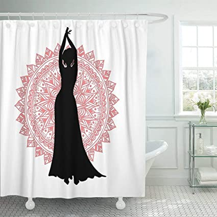Emvency Fabric Shower Curtain With Hooks Abstract Belly Dancer Silhouette On Round Mandala Of Dance Clubs