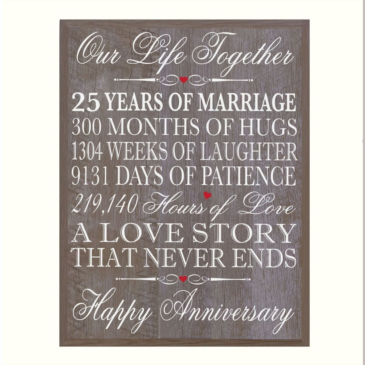 LifeSong Milestones 25th Wedding Anniversary Wall Plaque Gifts for Couple, 25th Anniversary Gifts for Her,25th Wedding Anniversary Gifts for Him 12'' W X 15'' H Wall Plaque By (Barnwood)