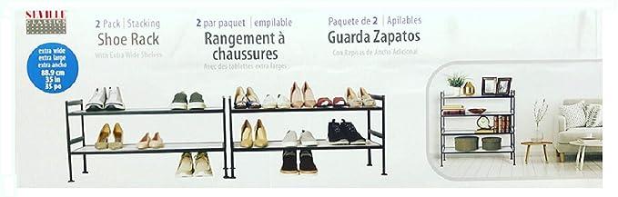 Amazon.com: Seville Classics 2-Tier Resin Slat Utility Shoe Rack Extra Wide Shelves (2 Pack): Home & Kitchen