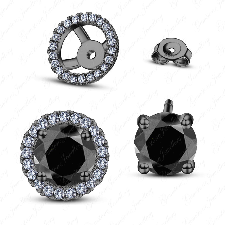 Gemstone Jewellery 14k Black Rhodium Plated Excellent Black Sim Diamond 925 Silver Halo Stud Earrings