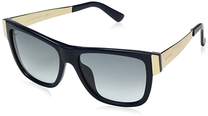 gucci sunglasses 3718 frame black gold lens brown gradient