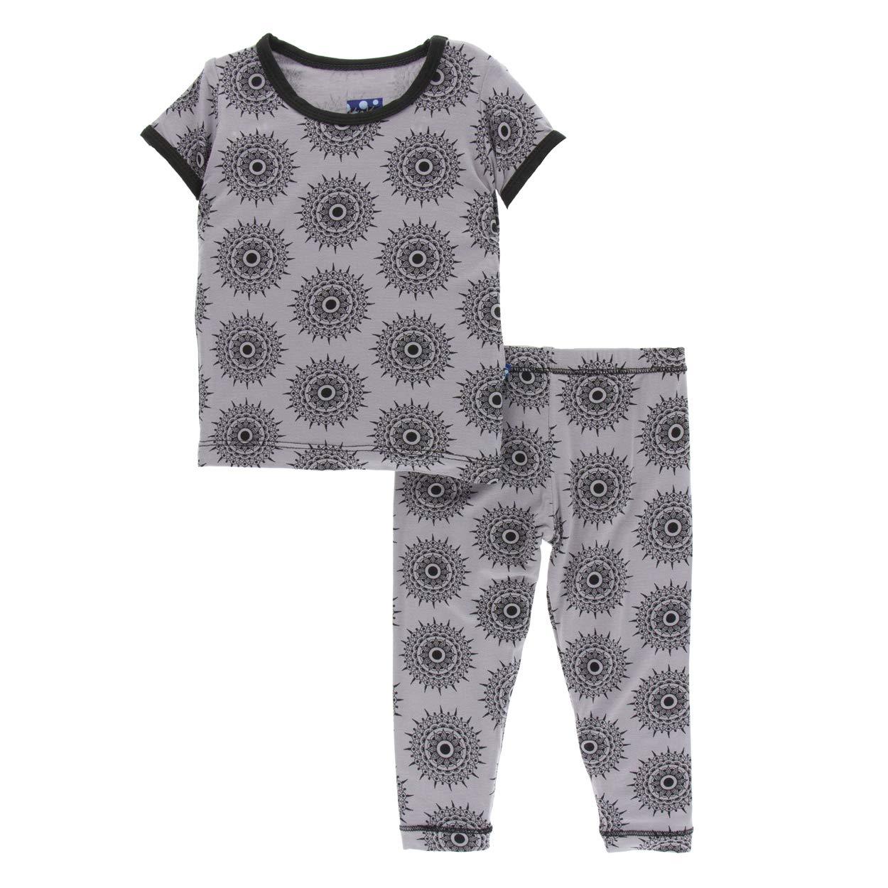 KicKee Pants Print Short Sleeve Pajama Set in Feather Mandala (3T) by Kickee Pants