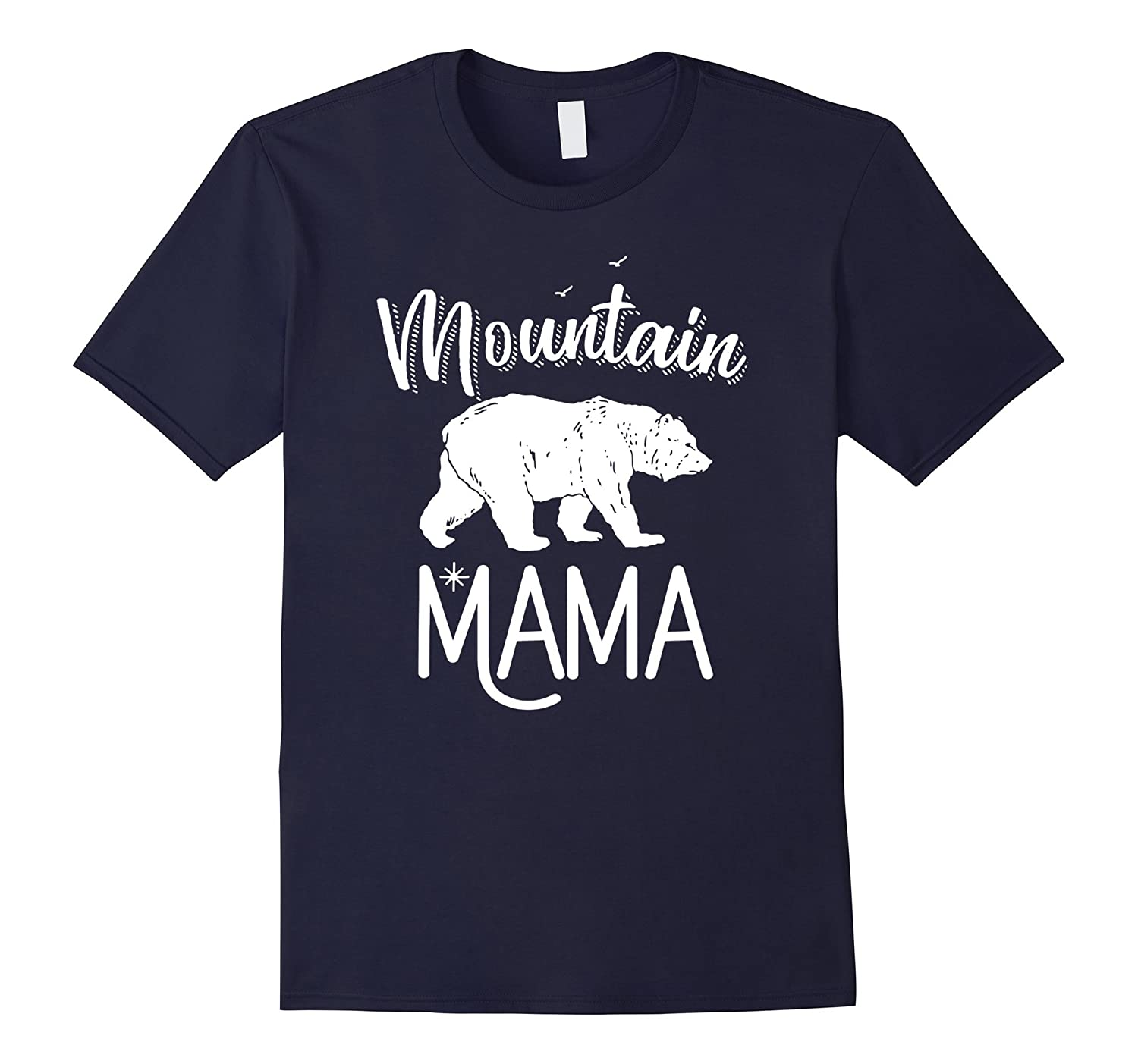Mountain Mama Cute Vintage Bear Outdoors Hiking T-shirt-TH
