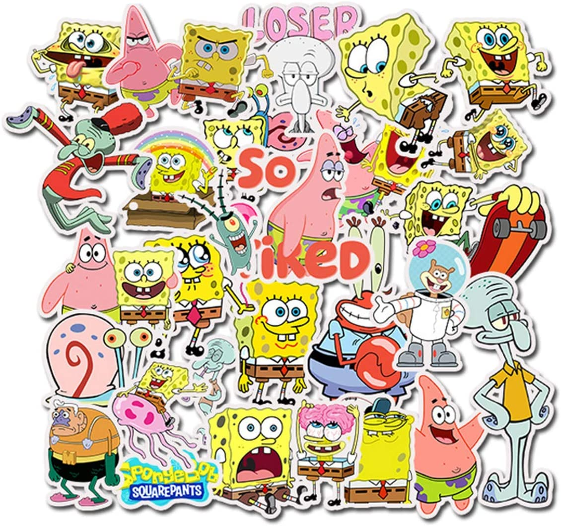 Spongebob Squarepants Stickers Laptop Stickers Waterproof Skateboard Snowboard Car Bicycle Luggage Decal 50pcs Pack (Spongebob Squarepants)
