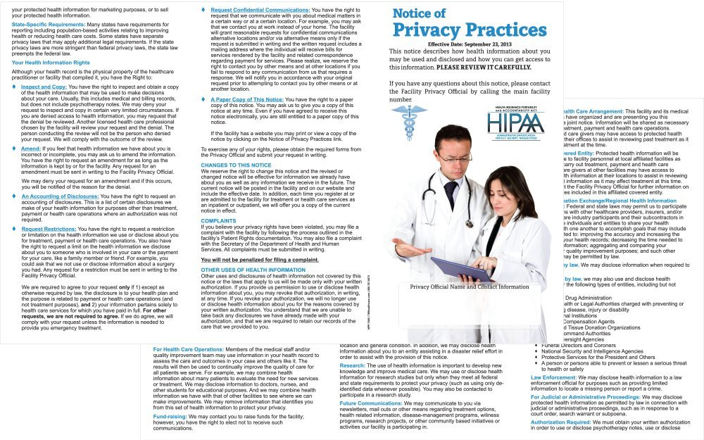 HIPAA - Notice of Privacy Practices Brochures