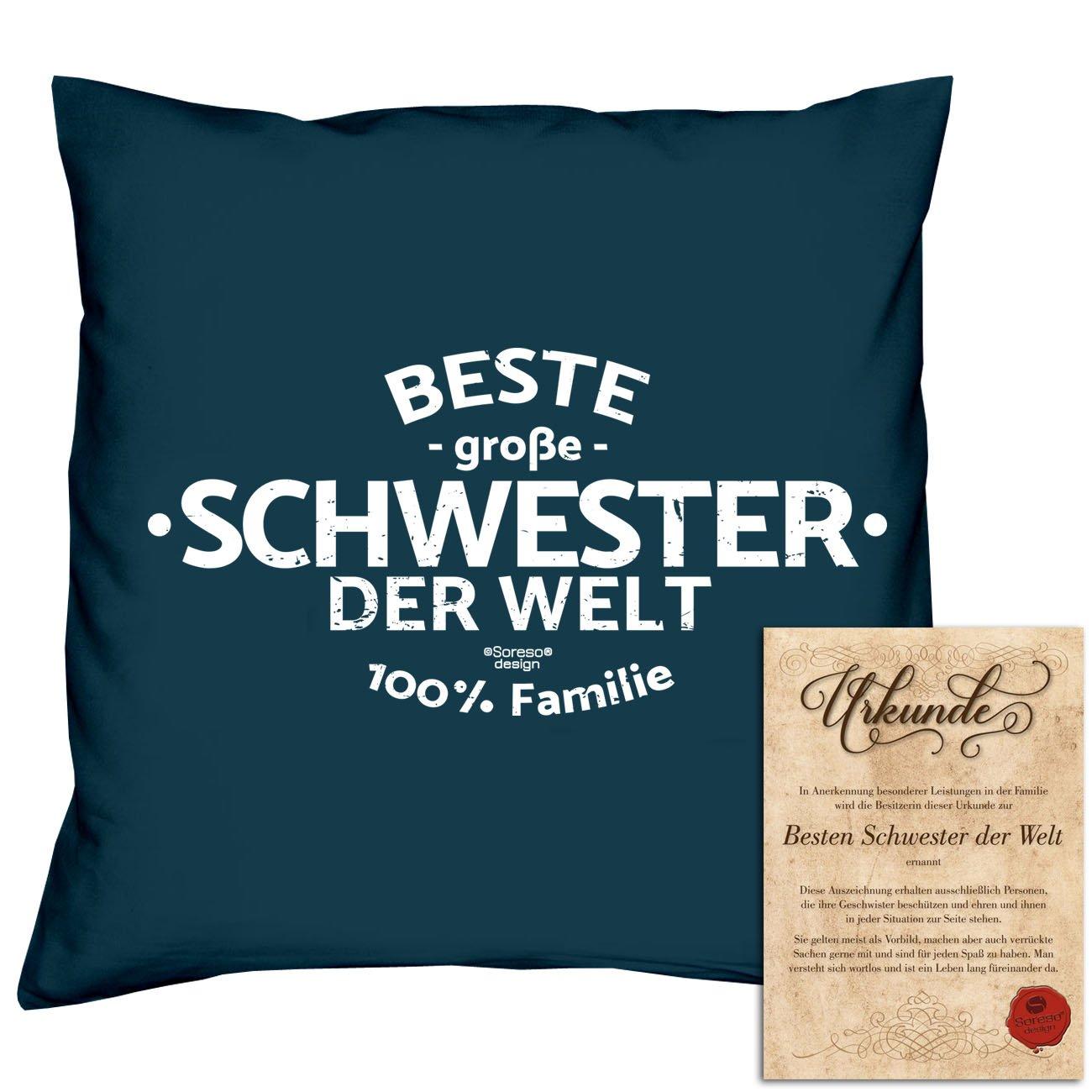 Geschenk-Set : Beste große Schwester der Welt :: Kissen komplett ...