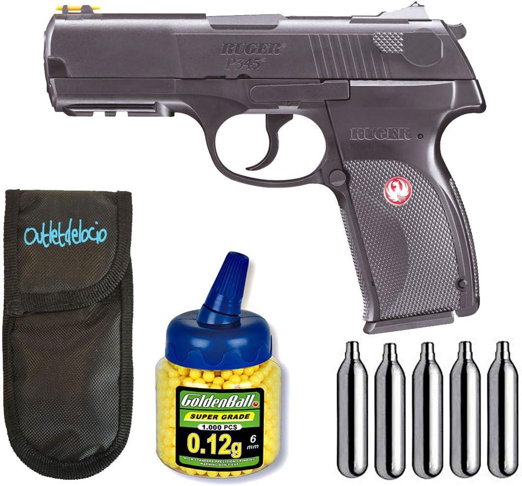 Outletdelocio. Pistola airsoft Umarex U25637. Ruger P345 Co2 + Funda portabalines + Biberon 1000 bolas + bombonas Co2.