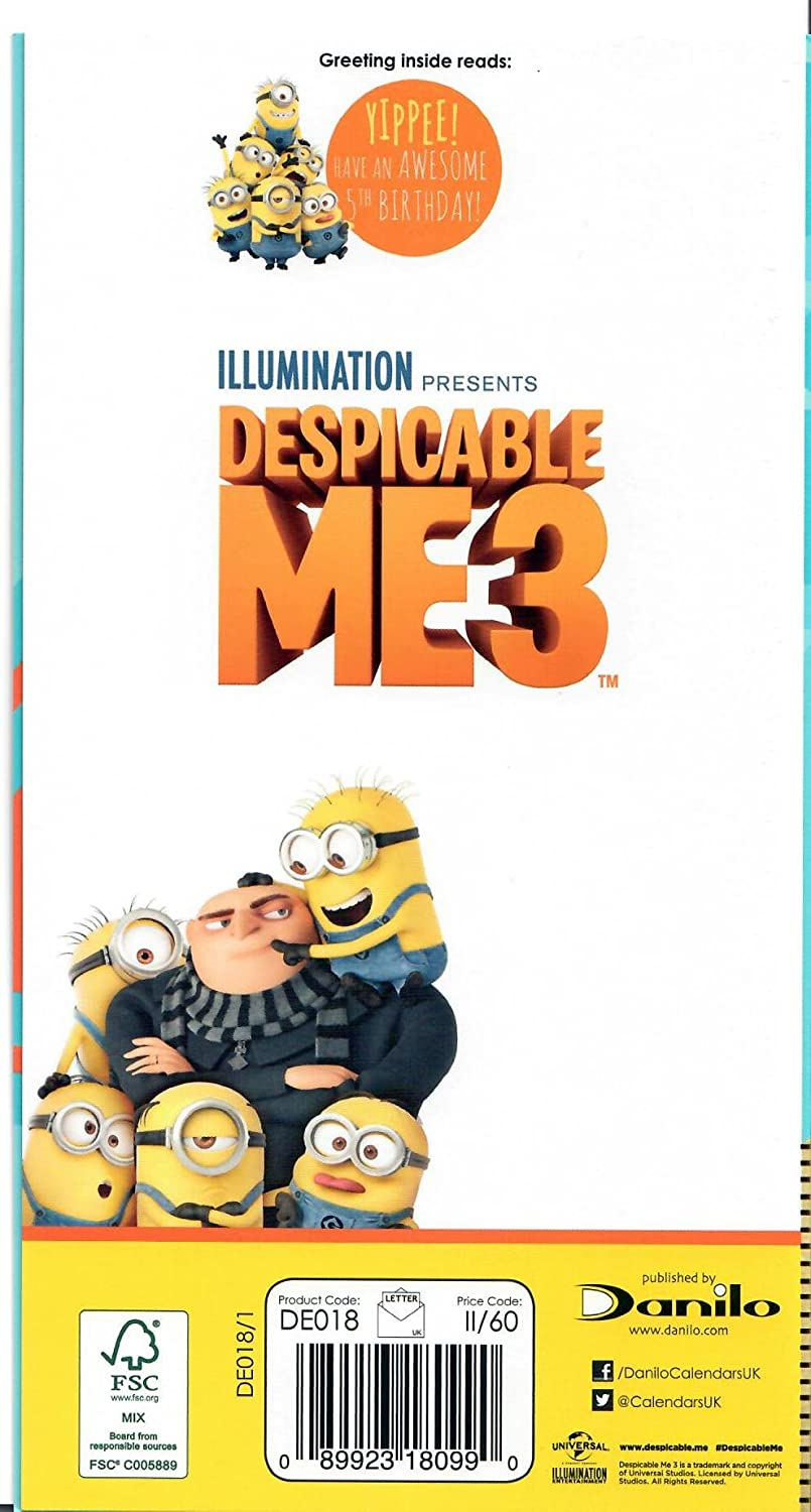 Despicable Me 3 Happy Birthday 5 Today Birthday Card Amazon
