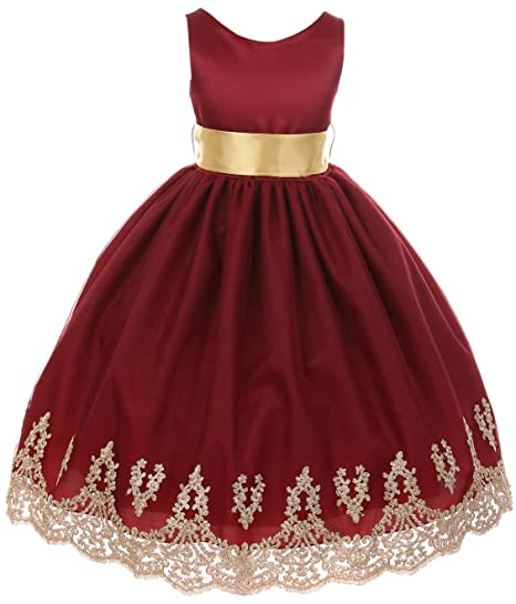 bf8a77bce1e06 Little Girls Sleeveless Lace Embroider Party Holiday Dressy Flower Girl  Dress