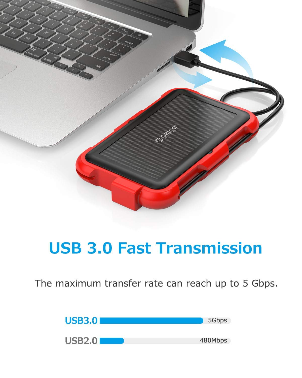 ORICO 2.5 inch USB3.0 Type A External Hard Drive Enclosure with Cable and Hook for 9.5//7mm SATA I II III HDD SSD Shockproof Waterproof Storage Box Casing Max 4TB