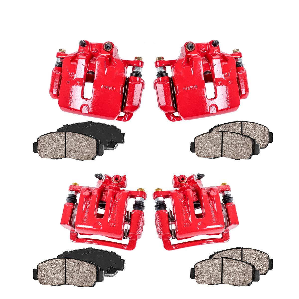 Callahan CCK03836 Ceramic Pads REAR Premium Semi-Loaded Red Calipers Hardware Brake Kit 4 FRONT