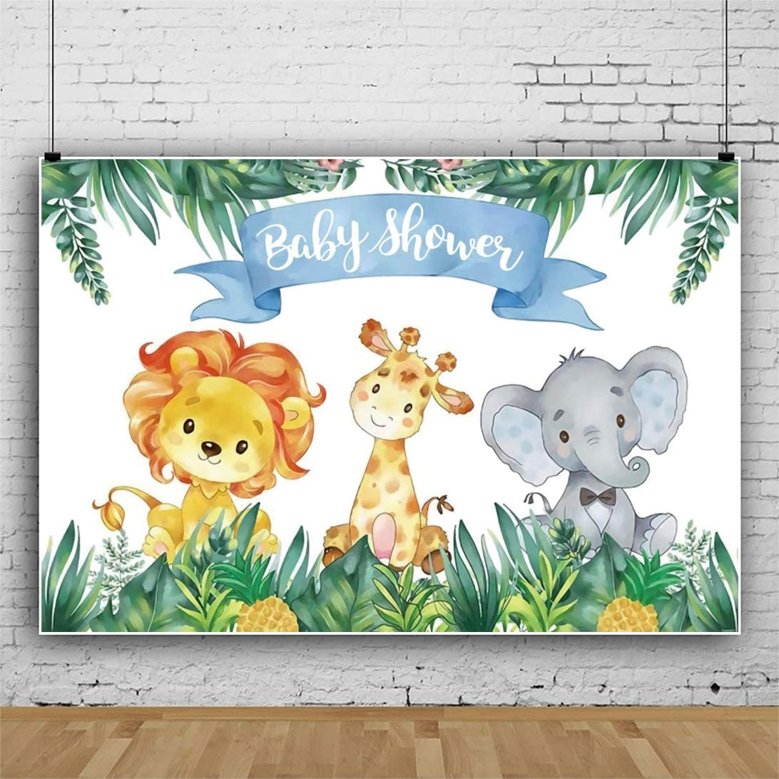 Laeacco 10x8ft Safari Animals Baby Shower Backdrop Tropical Jungle Baby Shower Background Cute Lion Elephant Animals Theme Baby Shower Party Decoration Birthday Banner Child Kid Newborn Baby Portraits