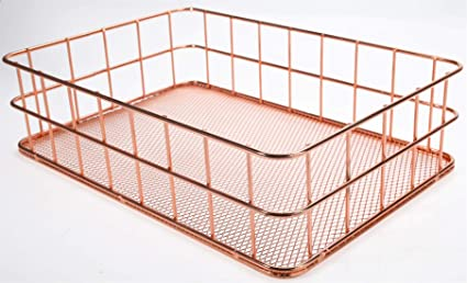 6f1ed2abcb01d8 Rose Gold Office Supplies-Desk Organizers-Metal Wire Basket with Mesh  Bottom Decorative Storage