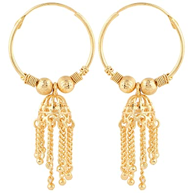 Amazon Com Bodha 18k Traditional Indian Gold Bali Jhumka Earrings