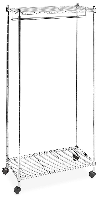 Whitmor Supreme Garment Rack - Double Shelf Rolling Clothes Organizer - Chrome