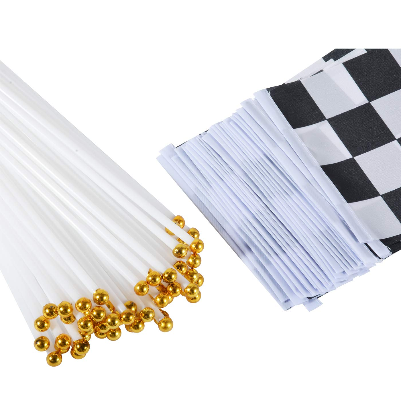 8 x 5.5 Inch Jakie-Mar 60pcs Checkered Flags Checkered Black and White Racing Stick Flag Racing Polyester Flags with Plastic Sticks for Racing,Race Car Party,Sport Events,Kids Birthday