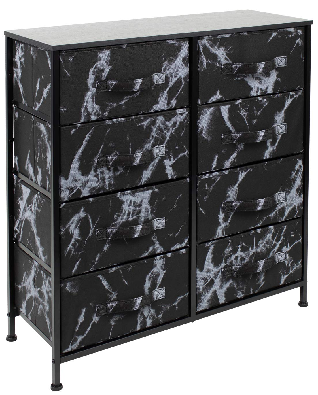 Sorbus Dresser with 8 Drawers - Furniture Storage Chest Tower Unit for Bedroom, Hallway, Closet, Office Organization - Steel Frame, Wood Top, Easy Pull Fabric Bins (Marble Black – Black Frame)