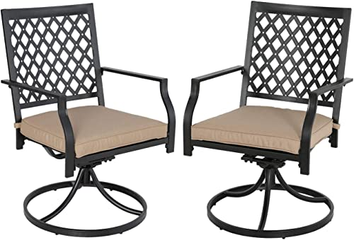 Ulax Furniture Outdoor Dining Chair Patio Swivel Dining Chair