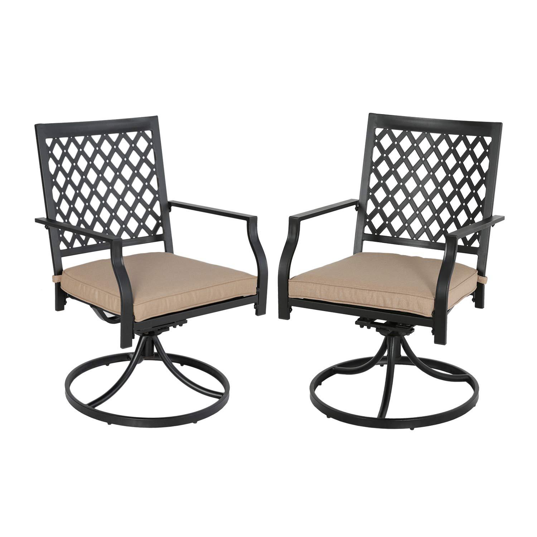 Ulax furniture Outdoor 2-Piece Patio Swivel Rocker Dining Chairs