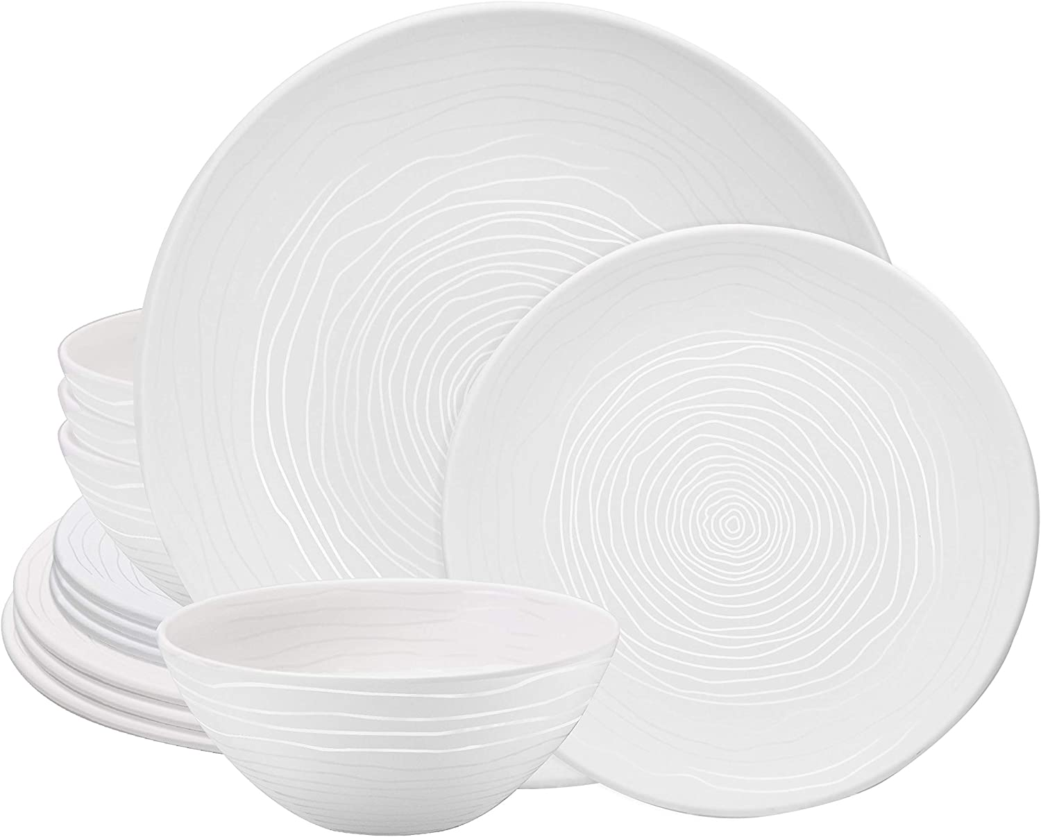 bzyoo BPA-Free Dishwasher Safe 100% Melamine Lightweight Plate & Bowl Set Best for Indoor and Outdoor Party Environmental Friendly (12 PCS Dinnerware set, Service for 4, Organica White)