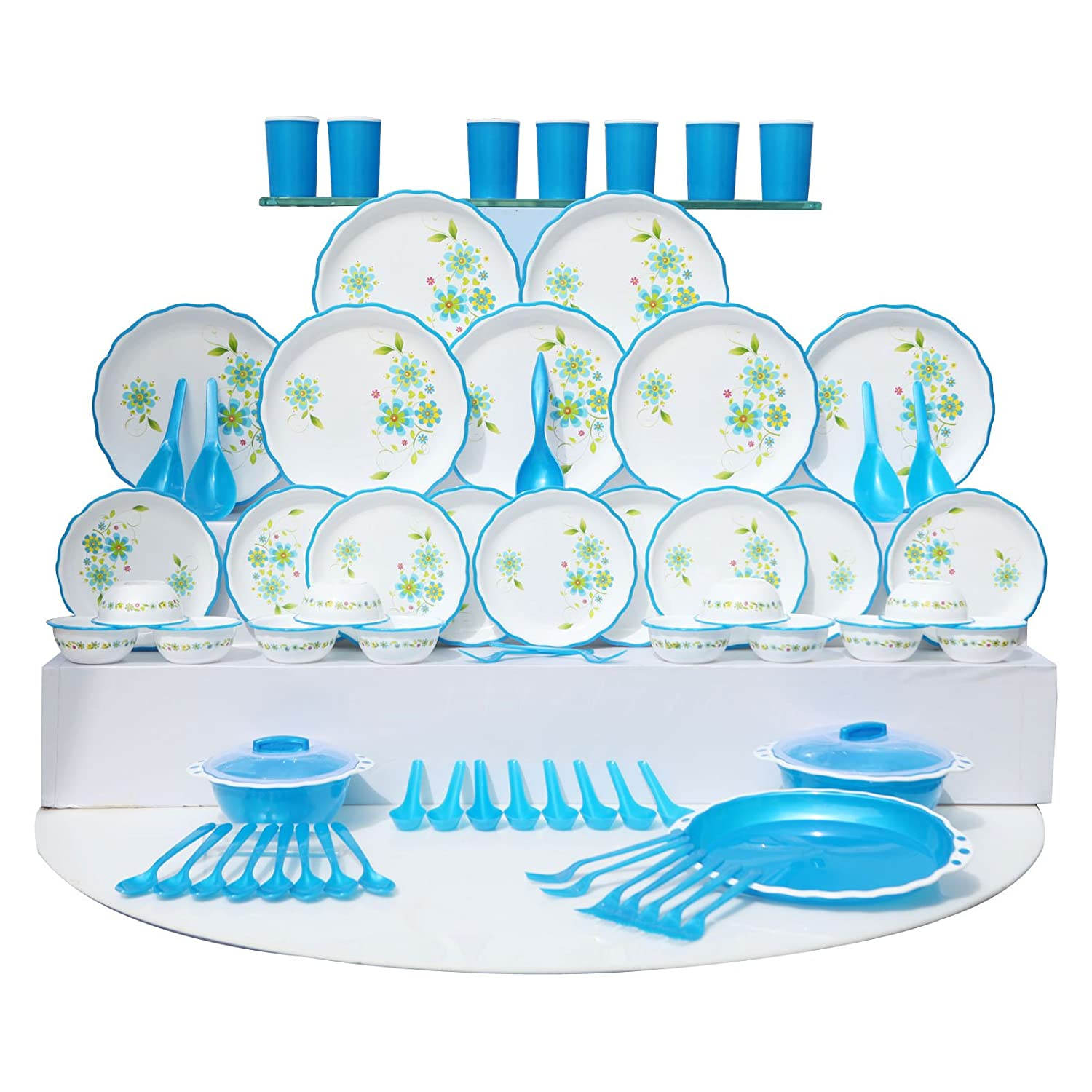 Buy Joyo Plastic Dinner Set, 84-Pieces, Blue Online at Low Prices in ...