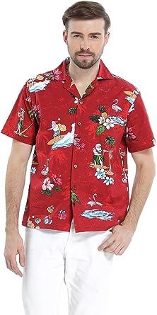 Hawaii Hangover Camisa Hawaiana de los Hombres Camisa Hawaiana Camisa de Navidad Santa Rojo