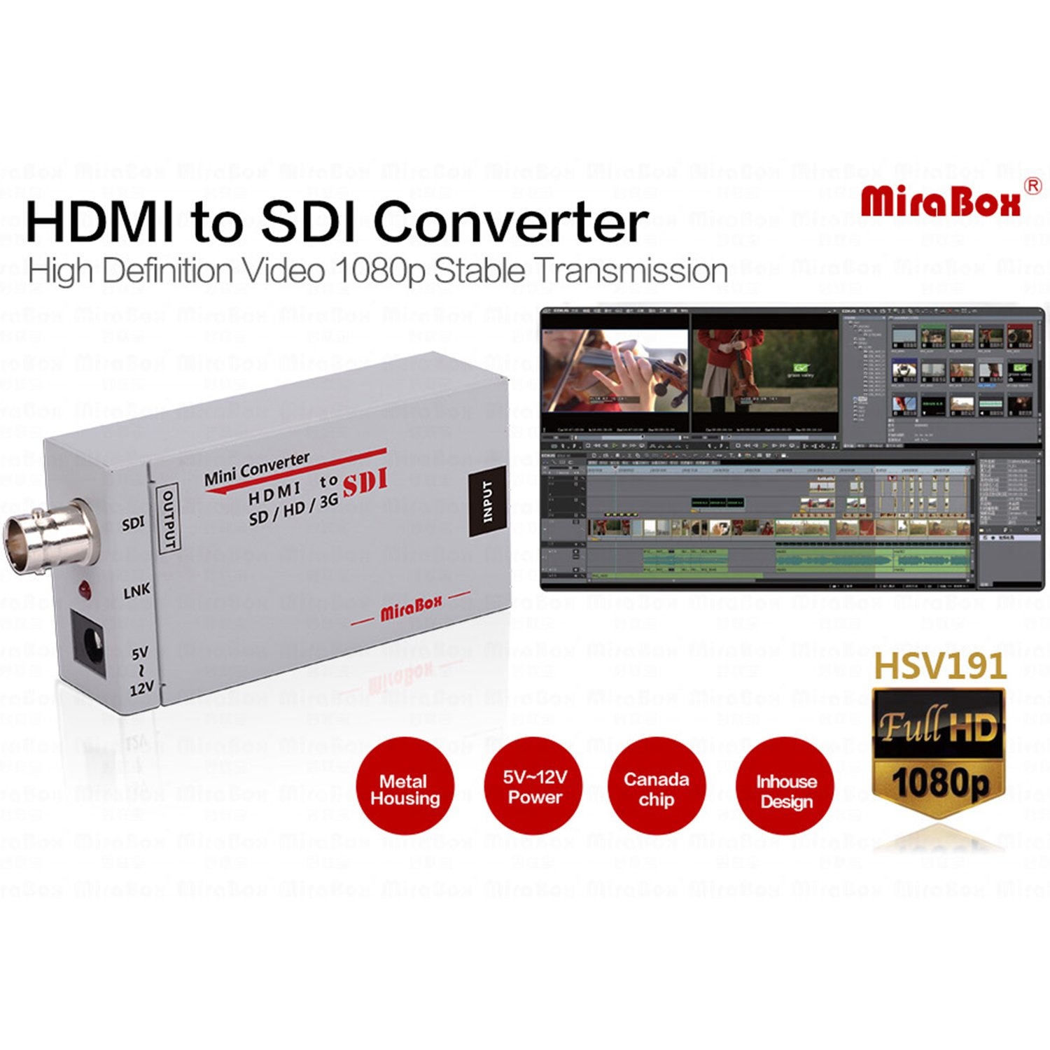 Mirabox HDMI to SDI Converter Scaler Adapter 1080P 1080i 720P 576i 480P MINI 3G with Coaxial Audio Output for Home Theater Cinema PC HD (Grey) Hotspot Tech HSV191-G