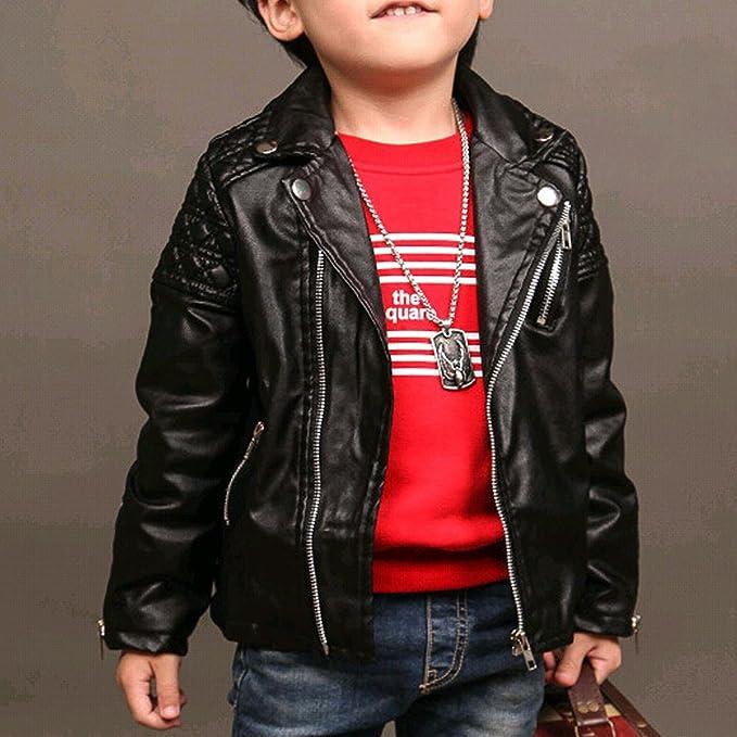 8f8fe344e Amazon.com  Spring Kids Jacket PU Leather Girls Jackets Clothes ...