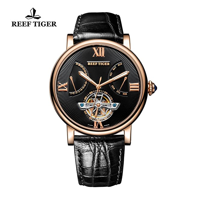 Reef Tiger Casual Tourbillon Watches For Men Date Day Rose God Luminous Automatic Watches Rga191 by Reef Tiger