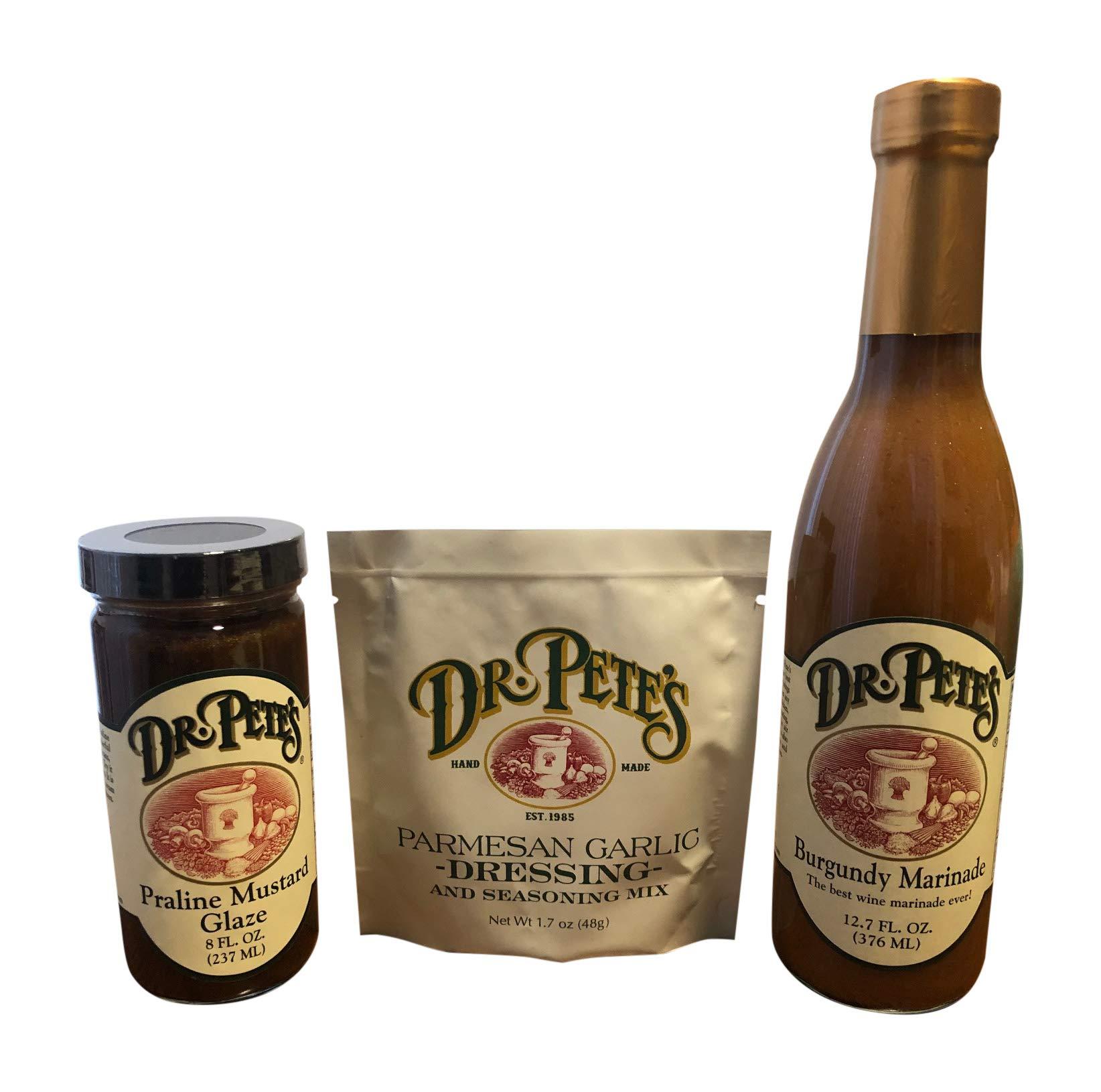 Dr. Pete's Burgundy Marinade, Praline Mustard Glaze, and Parmesan Garlic Dressing.