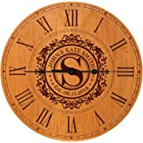 "Wedding Clock or Anniversary Clock Personalized Wedding Gift Anniversary Gift Housewarming Gift "" Monogram Initial Clock (Cherry)"