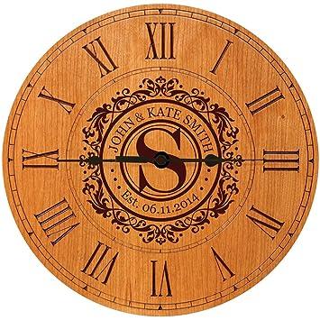 wedding clock or anniversary clock personalized wedding gift anniversary gift housewarming gift monogram initial