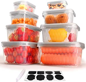 Food Storage Containers with Lids, Set of 8 Plastic Freezer Containers for Food with Leak Proof and Airtight Lids, BPA Free and Stackable Kitchen food prep containers.