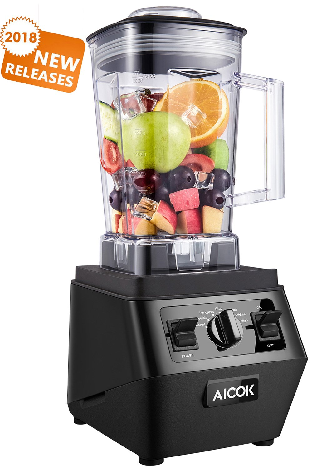 Aicok Blender 1400W Professional High Speed Mixer 30,000RPM, with 70oz BPA-Free Tritan Pitcher, Variable Speed Controls, Commercial Blender with Stainless Steel 6 Pro Blades for Ice Crushing, Black