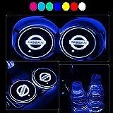 YenCar 車用 LED ドリンクホルダー レインボーコースター 車載 ロゴ ディスプレイライト LEDカーカップホルダー マットパッド (日産 Nissan)