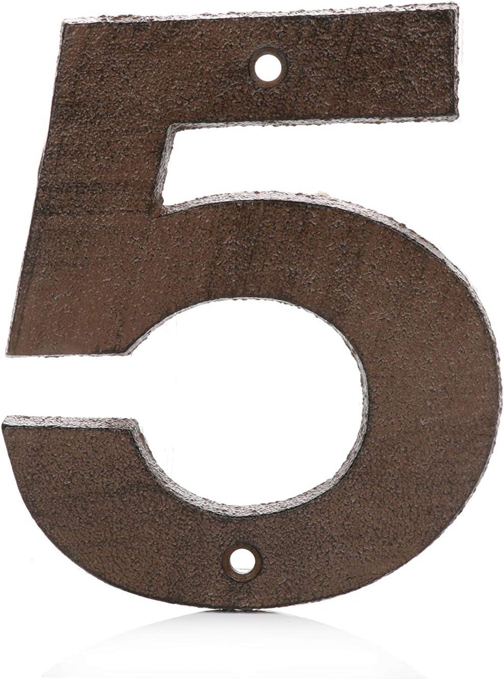 Pristine Números de casa de 12.5cm – hierro fundido, acabado negro desgastado para uso al aire libre (5, Marrón óxido)
