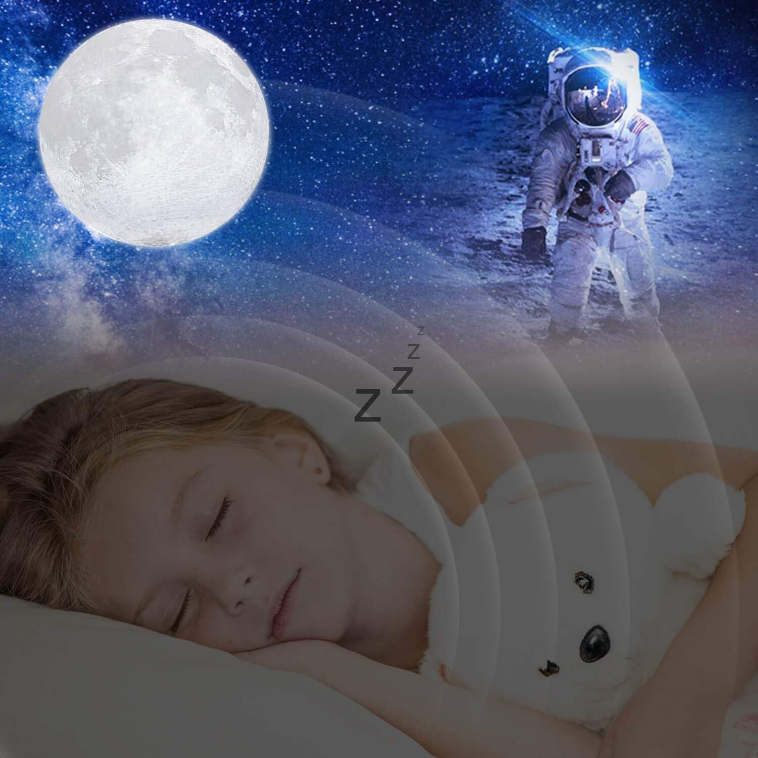Moon Lamp, 16 Colors 3D Printed Moon Night Light (Large, 5.9in) with Stand, USB Charging, Touch & Remote Control - Cool Nursery Decor for Baby, Top Birthday Party Gift Christmas Gifts by YICAI (Image #5)